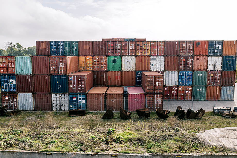 used containers in a TITAN depot in